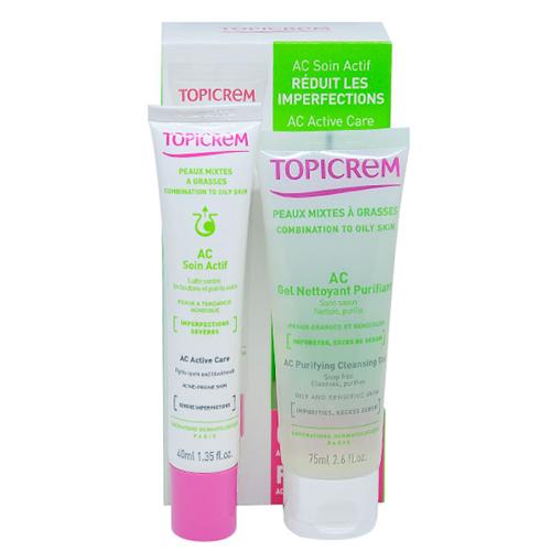 Bộ đôi sản phẩm gồm gel rửa mặt cho da nhờn mụn