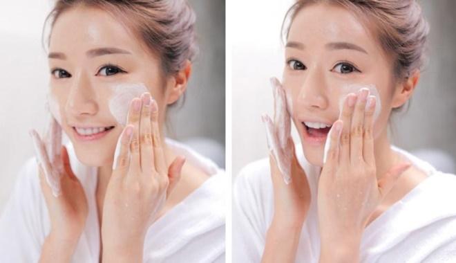 Làm sạch da mặt bằng sữa rửa mặt dịu nhẹ