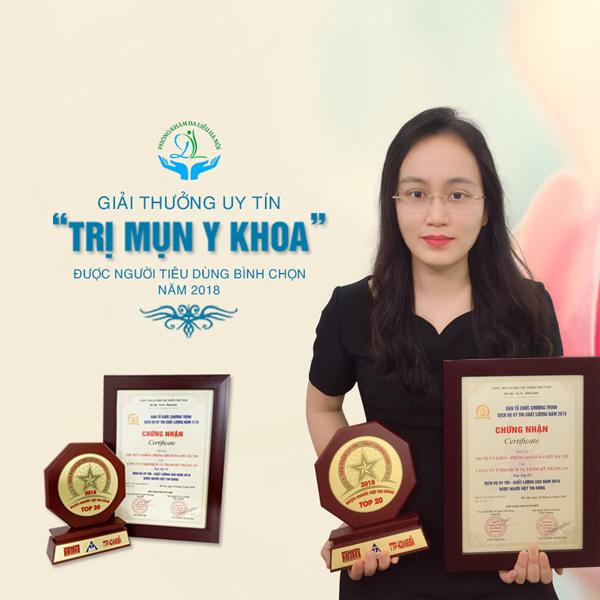 giải thưởng uy tín trị mụn y khoa tại Phòng Khám da liễu Hà Nội